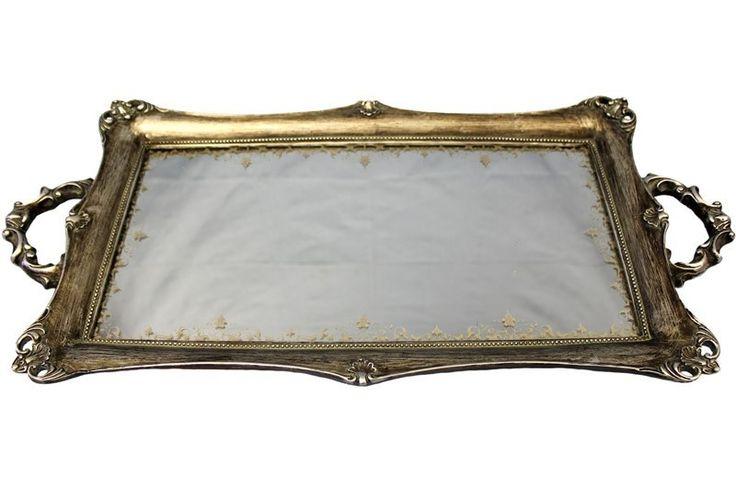 Duża bogato zdobiona taca z uchwytami prezent ślubny
