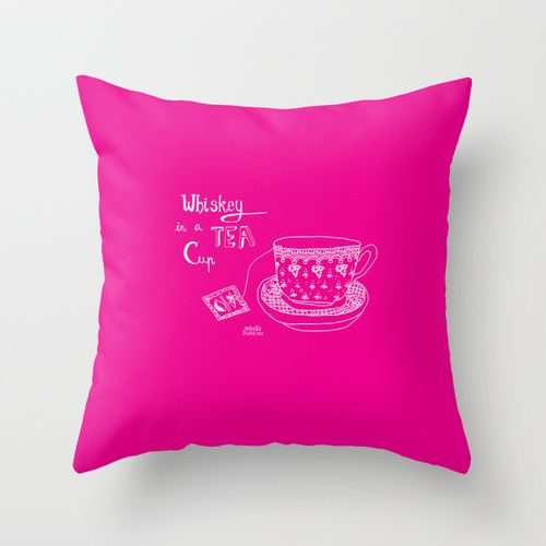 Whiskey in a tea cup Throw Pillow by Vibeke hoie | Society6