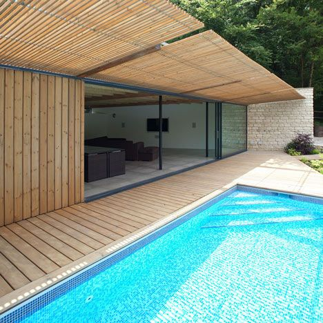 Wood deck on swimming pool