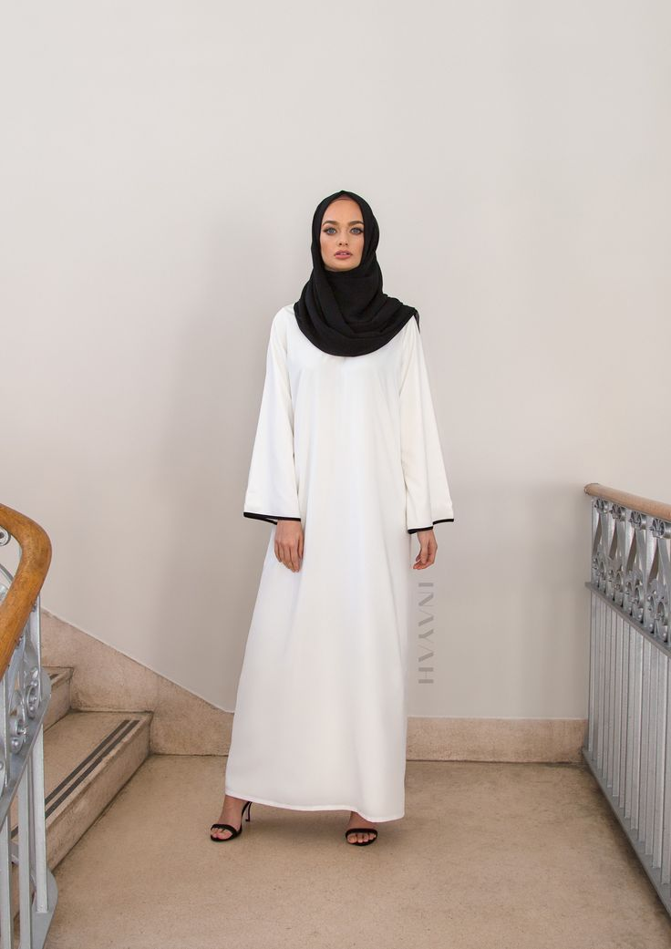 INAYAH | White Kimono #Abaya with Contrast + Black Georgette #Hijab
