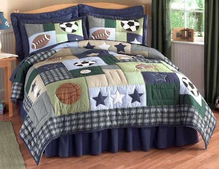 Sports Collage Boys Bedding Twin Quilt Set Navy Blue Green Brown Embroidered Cotton
