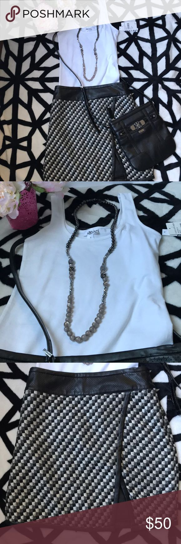 🔥3 in 1 - GUESS bag, ANN TAYLOR skirt & ABOUND🔥 🛍🛍ATTENTION!!! 3 in 1  ⭐️White T-Shirt - ABOUND from Nordstrom Rack. Size S. New with tag ⭐️Elegant black leather mini skirt - ANN TAYLOR - size 6P Excellent conditions  ⭐️Black leather small handbag -GUESS - excellent condition  All for 48$!!!🛍🛍 Ann Taylor Skirts Mini