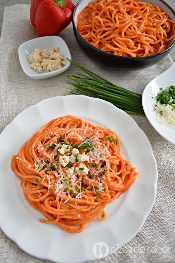 Espagueti rojo cremoso www.pizcadesabor.com