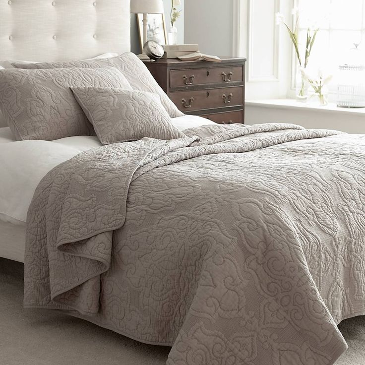 Kingston taupe quilted bedspread taupe cotton bedspread for Bedspread decoration
