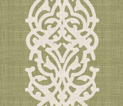 arabesque linen olive_green fabric by chicca_besso on Spoonflower - custom fabric
