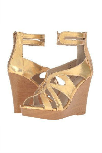 C Label Metallic Wedge Sandal in Gold