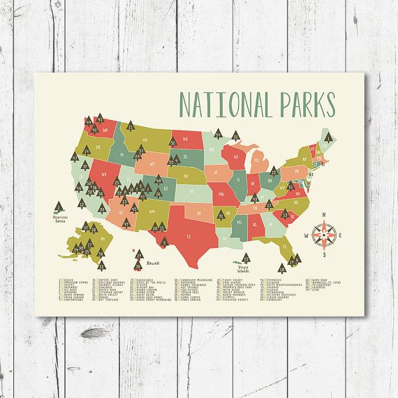 "Map of national parks printable file (JPEG) download and print any size between 5""x7"" and 16""x20"""