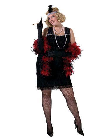 black flapper charleston cutie adult womens plus size costume - Size 18 Halloween Costumes
