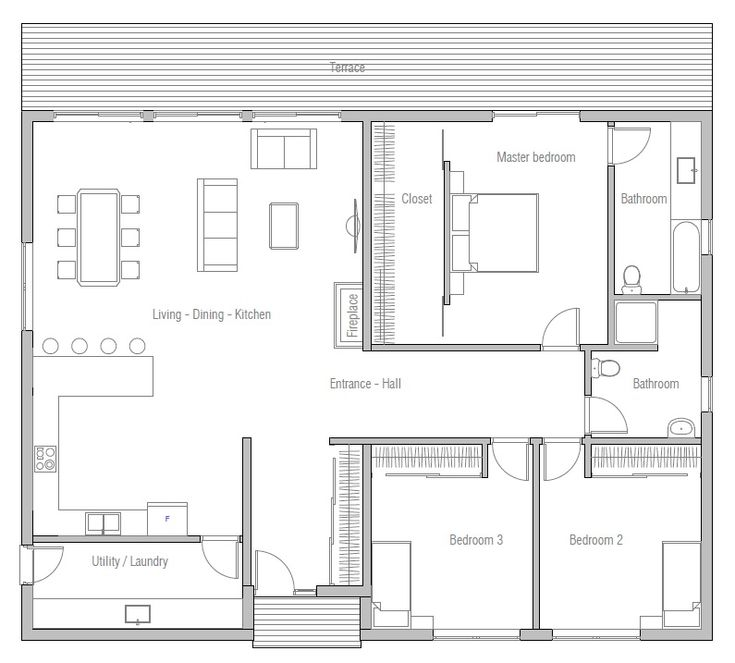 this is the one house plans 2015_10_house_plan_ch371jpg modern simple 3 bedroom - 3 Bedroom House Floor Plan