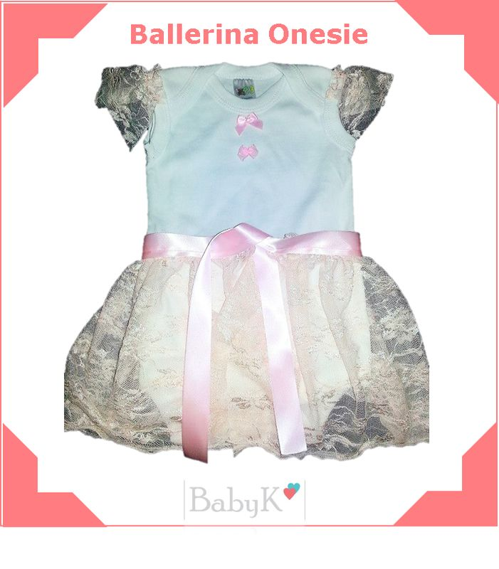 For the girly girl!  A Ballerina Onesie from BabyK. Skirts can be made in various colours.