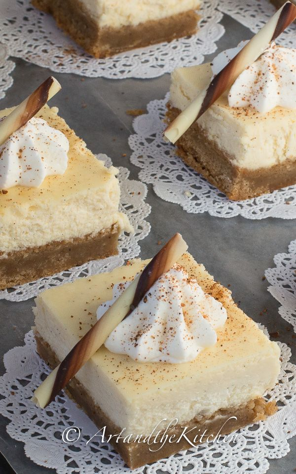ArtandtheKitchen: Eggnog Cheesecake Squares with a delicious Holiday spice brownie crust.