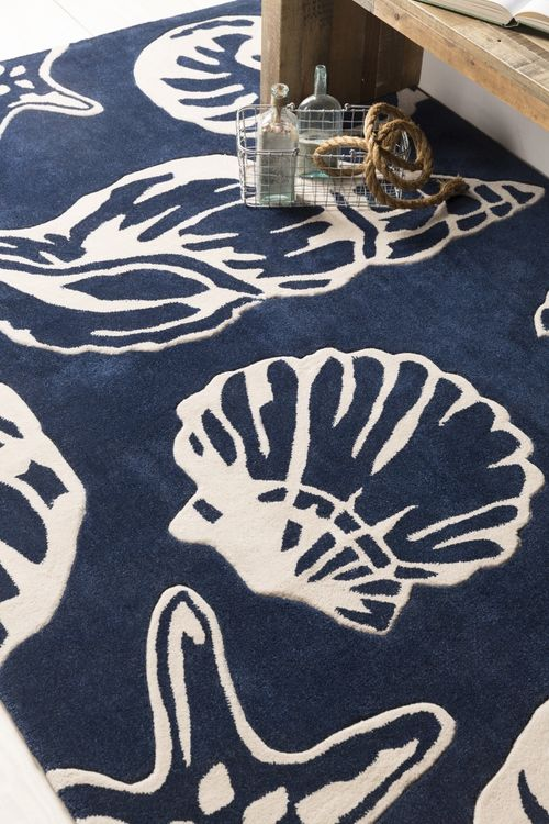Enjoy The Rich, Soft Deep Cobalt And Ivory Lido Keys Seashell Area Rug With  Sculpted