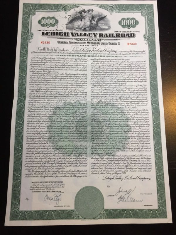Stock/Bond: Lehigh Valley Railroad Company Bond $1000 With 62 Coupons Attached M2330