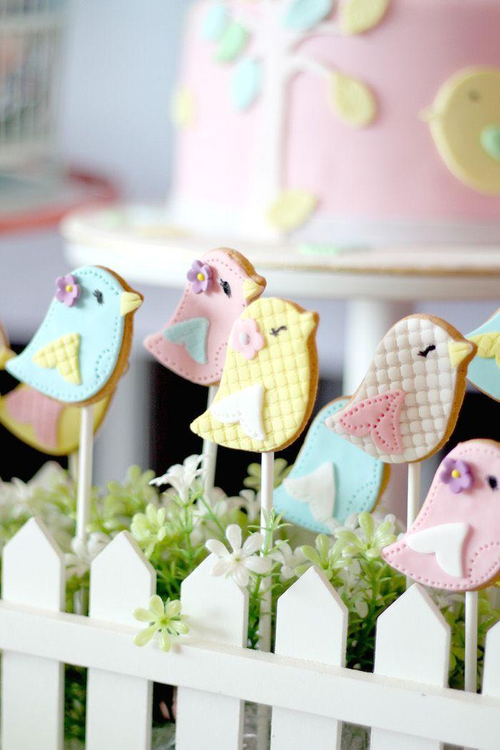 Pastel Bird Sugar Cookies via Kara's Party Ideas | KarasPartyIdeas.com Cute baby shower!