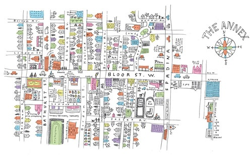 Marlena Zuber's hand-drawn maps of Toronto neighbourhoods.  #Toronto #posters #maps #illustrations