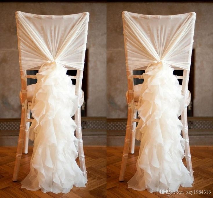 2015 New Arrival Chiffon Chair Covers For Weddings Flouncing Ruffles DIY Creative Wedding Decorations Ivory Romantic Sashes