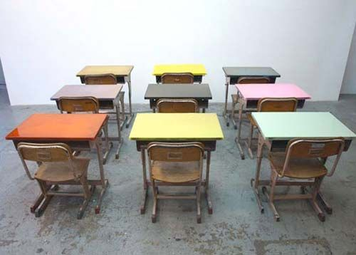 Vintage School Desks in bright colors