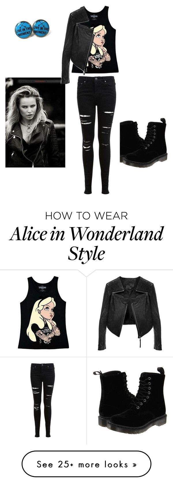 """punk date"" by fore-shelby on Polyvore featuring Disney, Dr. Martens, KAROLINA, Linea Pelle and Miss Selfridge"