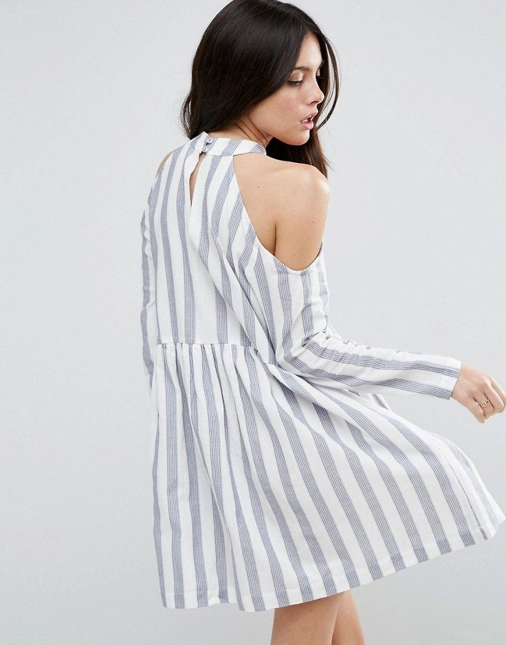 ASOS Cold Shoulder Cotton Stripe Smock Dress - Multi