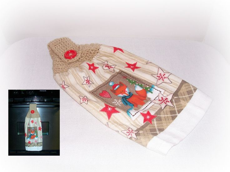 Christmas Fox Kitchen Helper, Crochet Towel Topper, Dish Towel Hanger, Kitchen Decor, Tan White Orange Hand Towel,  Christmas Winter Scene by ICreateAndCollect on Etsy