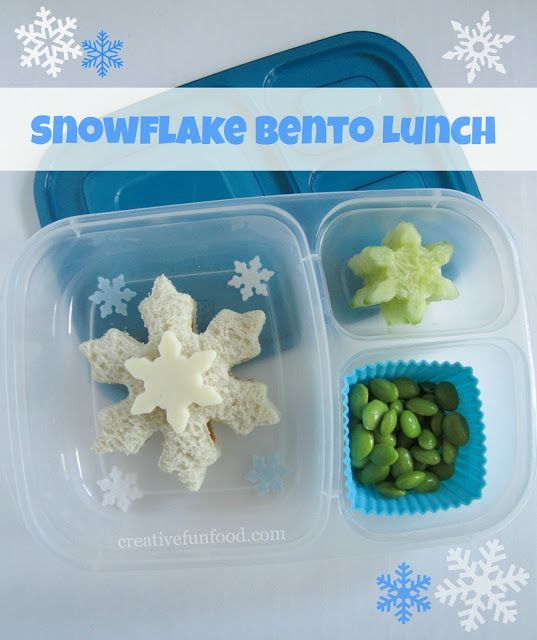 Snowflake-Themed Lunch: Using snowflake-shaped cutters and molds, create a cute lunch packed with snowflake-shaped foods to celebrate snowy weather.