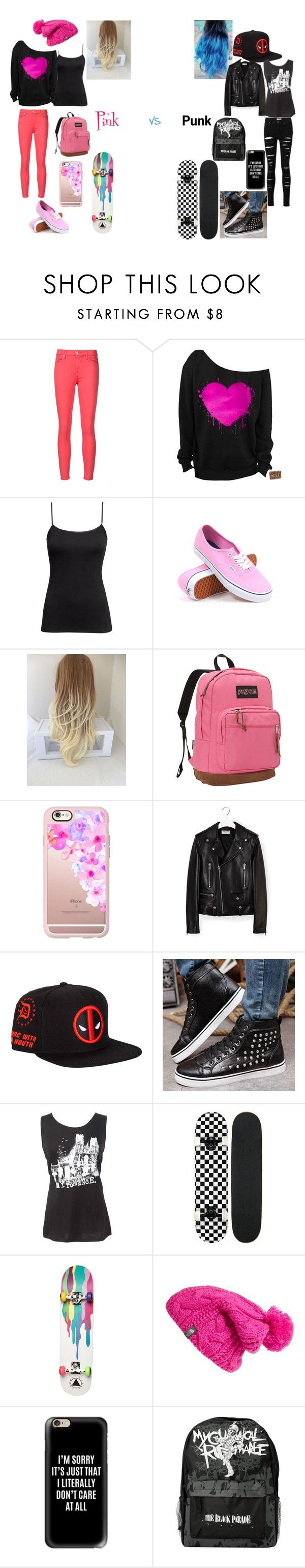 """Pink VS Punk"" by maxxy656 ❤ liked on Polyvore featuring 7 For All Mankind, H&M, Vans, JanSport, Casetify, Yves Saint Laurent, Preppy Boys, Ernesto Esposito and The North Face"