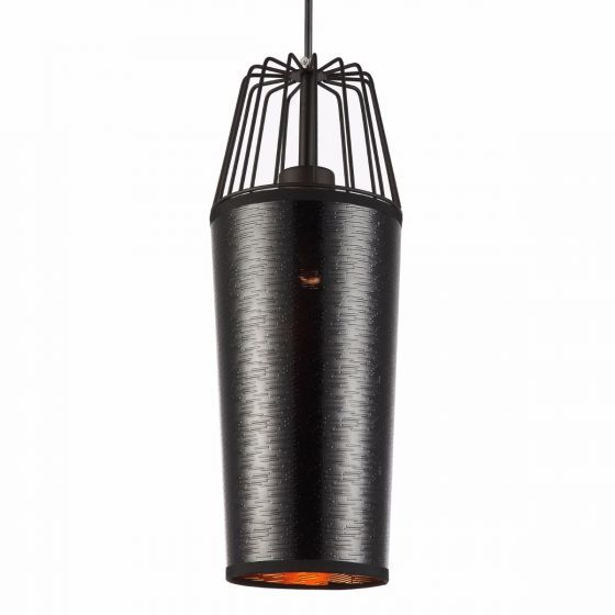 Lampada Ronzio Black Shade & Caged Top Pendant Light