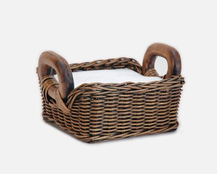 "Napkin Basket in Antique Walnut Brown.  This basket is ""fancy"" enough to use as the centerpiece for the kitchen table."