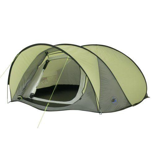 10T Outdoor Equipment Maxi Pop 3 - Tienda de campaña para 3 personas (sistema de montaje pop-up), color gris y verde