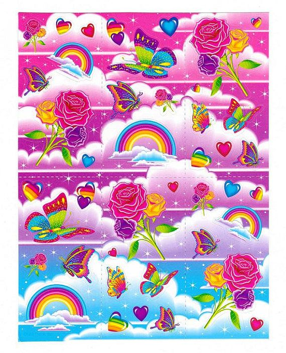 Lisa Frank Rainbows Roses and Butterflies Sticker Sheet UNNUMBERED Reprint on Etsy, $1.99