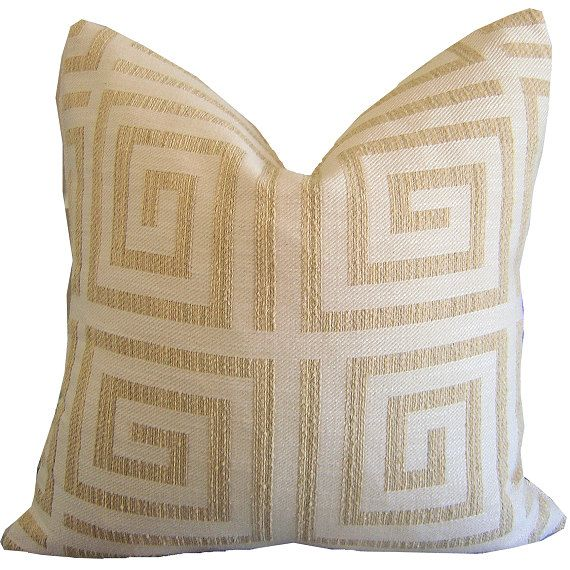 this listing is for 1 pillow cover pillow inserts are listed separately greek key coastal lumbar pillow cover reverses to a nubby solid