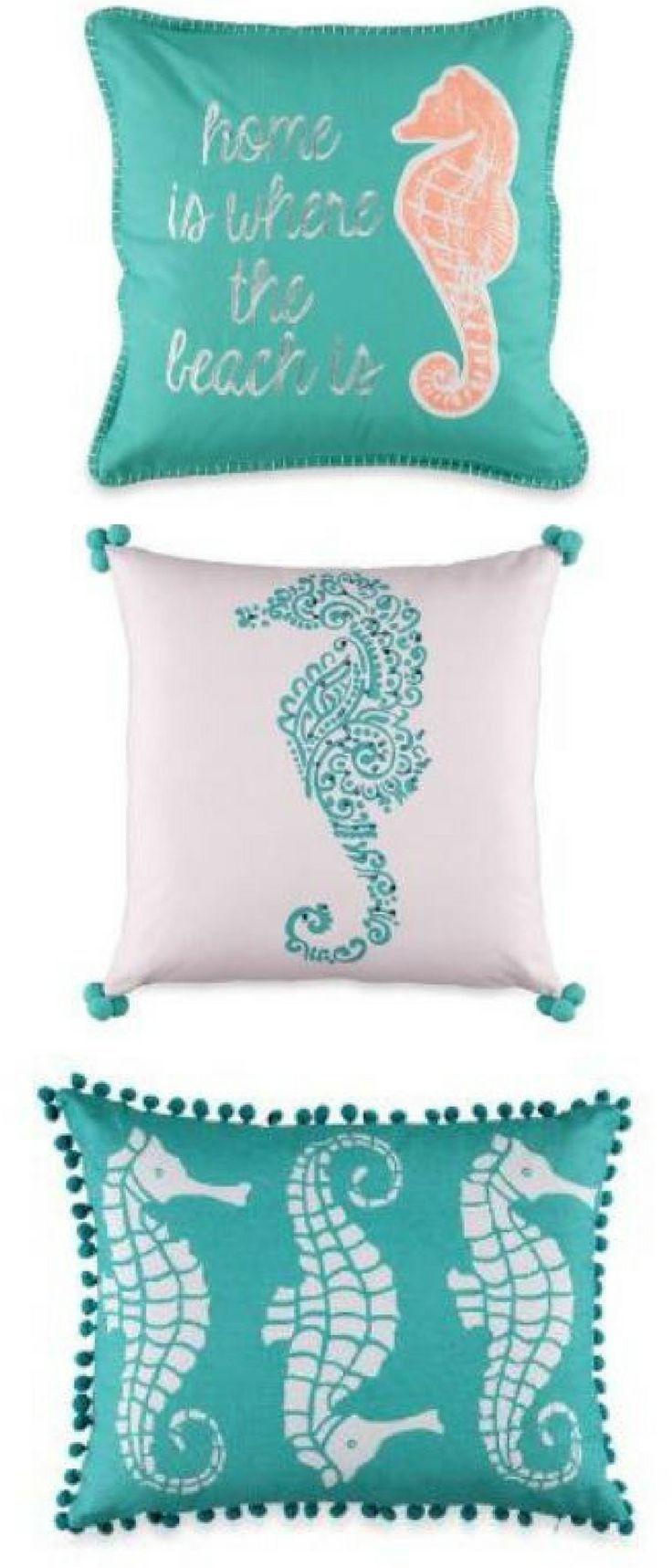 Colorful seahorse accent pillows coastal home decor ocean themed