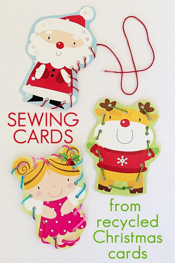 Sewing Cards from Recycled Greeting Cards | Childhood101
