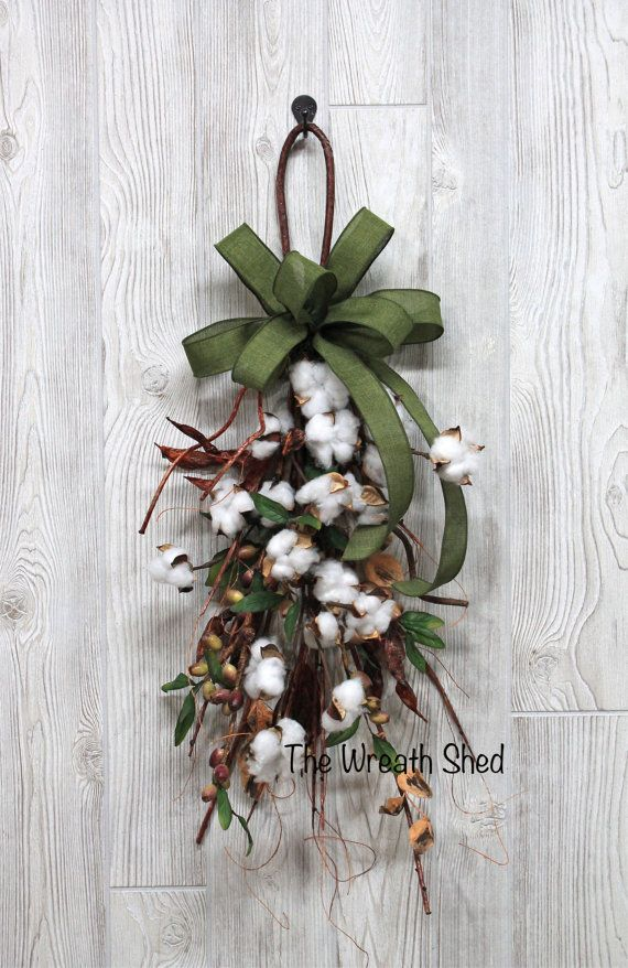 """Ships Free, 2nd Anniversary Cotton, 30"""" Cotton Boll Swag, Natural Cotton Bolls, Anniversary Gift, Farmhouse Swag, Cotton Boll Stems, Cotton"""
