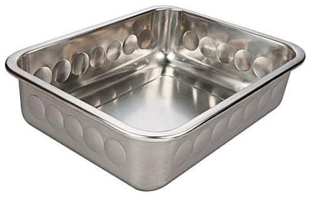 A review of the Bounce Stainless Steel Cat Litter Pan -- a metallic litter box that's easier to clean than plastic.