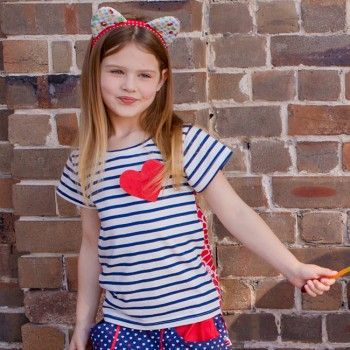 Riley Nautical and Scarlet Sunshine Top - Oobi.com.au