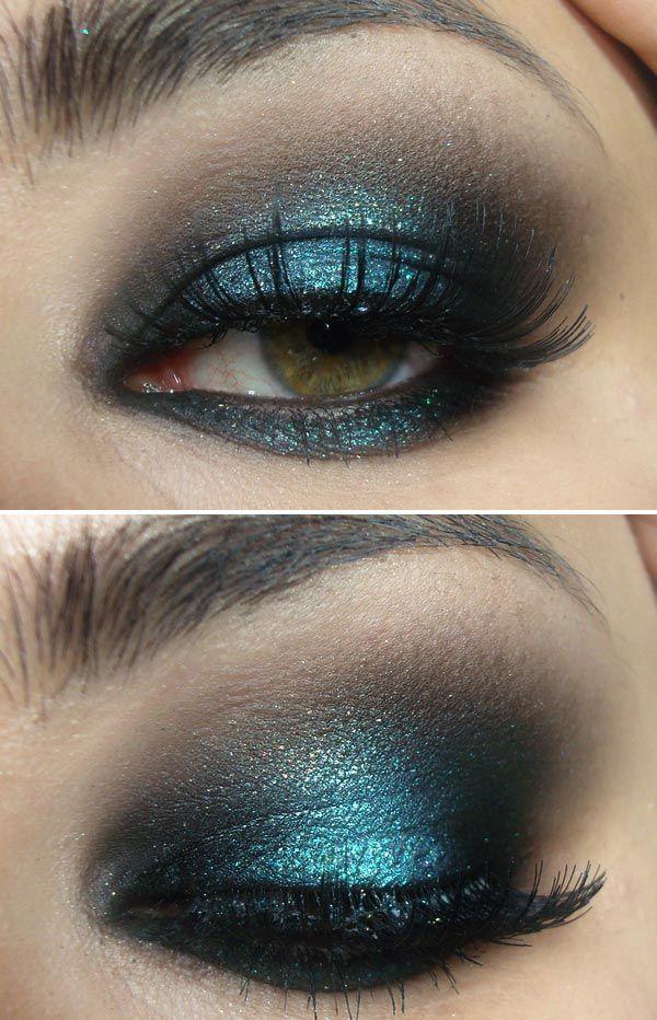 make preto e brilho azul!