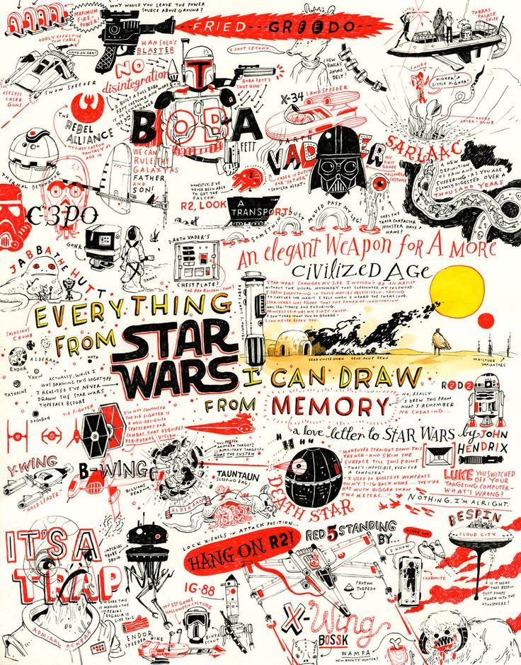 Pôster de Star Wars desenhado a partir da memória, sem nenhuma referência na web, feito por John Hendrix. #illustration #StarWars #Cinema