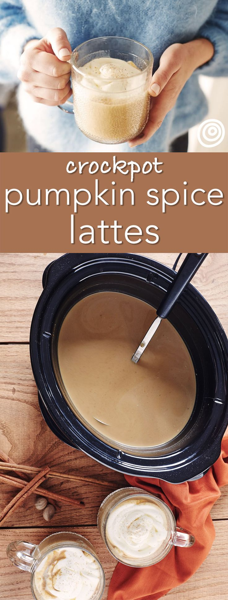 Homemade Slow Cooker or Crockpot Pumpkin Spice Lattes Recipe. An excellent idea for warm drinks for Thanksgiving in fall, Christmas in winter, cold weather, or just the holidays in general. Perfect for a crowd or large group. It's so EASY to make this at home - there's no reason to go out to Starbucks! No espresso machine required. A drip coffee maker is just fine.