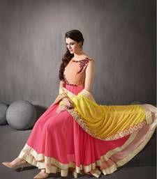 Buy Peach embroidered georgette unstitched salwar with dupatta party-wear-salwar-kameez online