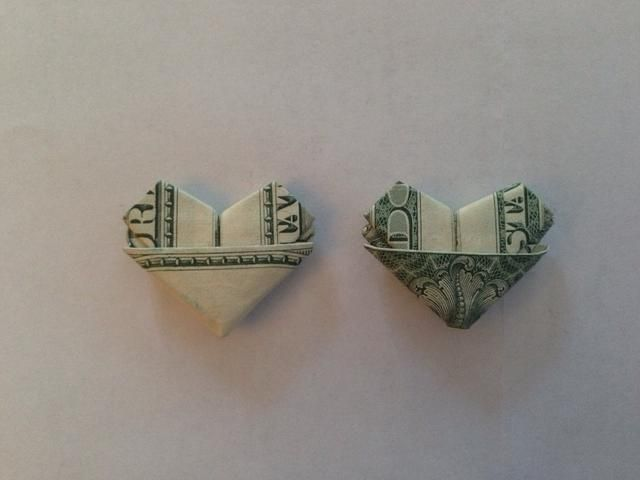 Dollar heart left by the tooth fairy.