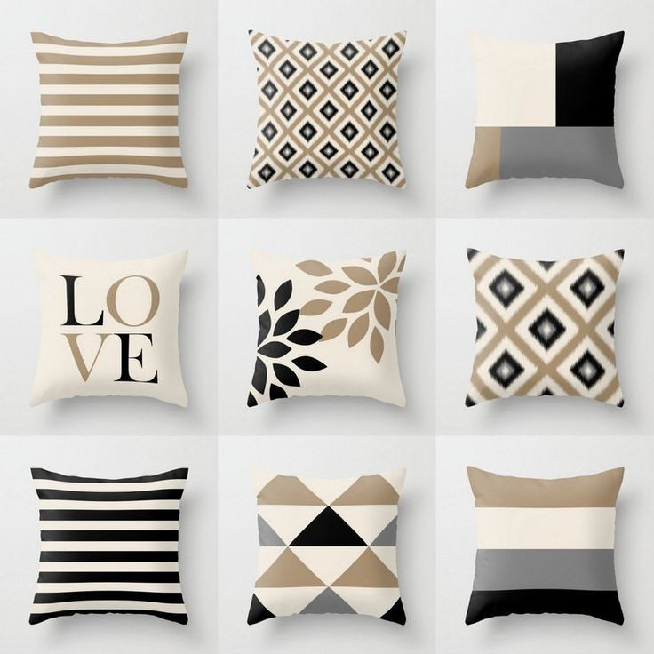 Cool Home Accessories Pillows Neutral Throw Pillow Covers Taupe Beige Black Grey Coolhome Ac Neutral Throw Pillows Neutral Pillows Neutral Pillow Covers
