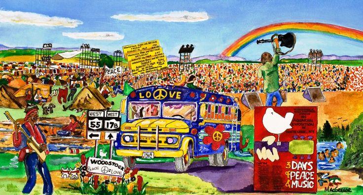 Woodstock Music & Art Festival Art Print 1969 Bethel Ny Hippie Rock Concert Bus