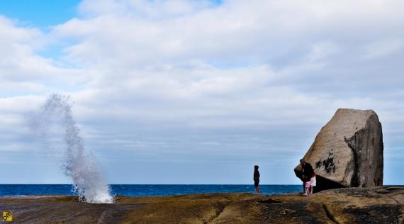 Tasmania, Bicheno blowhole~ granite rocks that concentrate waves into powerful jets!