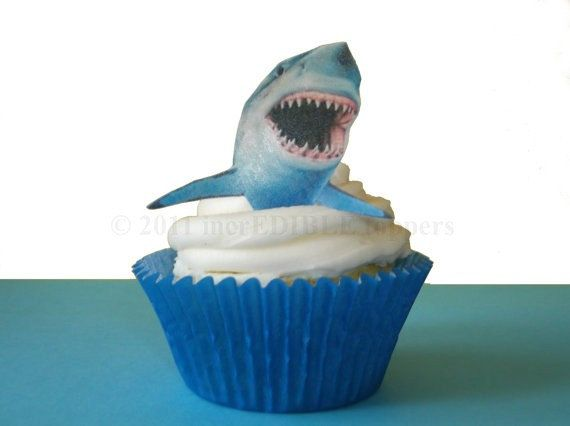EXCLUSIVE - 12 Edible Sharks  - Shark Week - Birthday Cake - For Boys - For Him - Shark Cupcakes. $9.50, via Etsy.