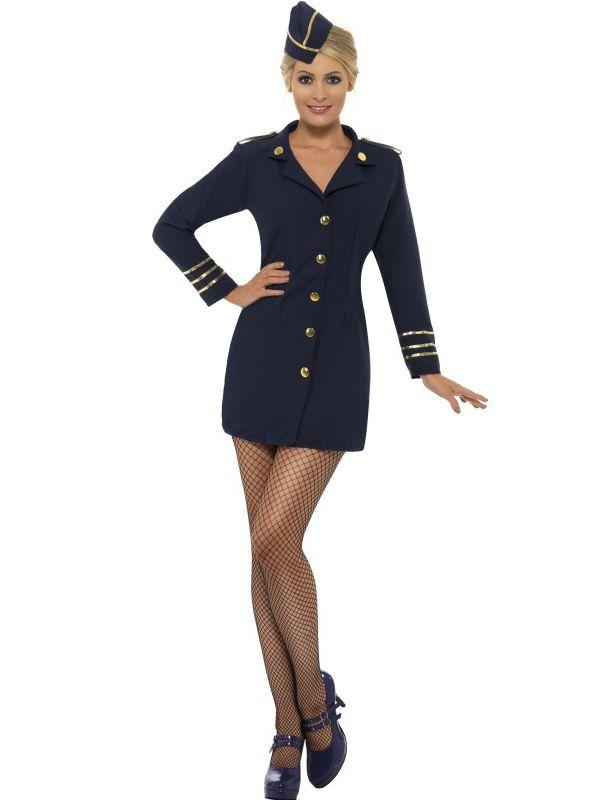 Air Hostess Stewardess Cabin Crew Ladies Virgin Style Fancy Dress Costume + Hat