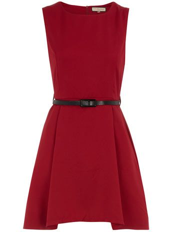 Burgundy belted shift dress.  LOVE this color.