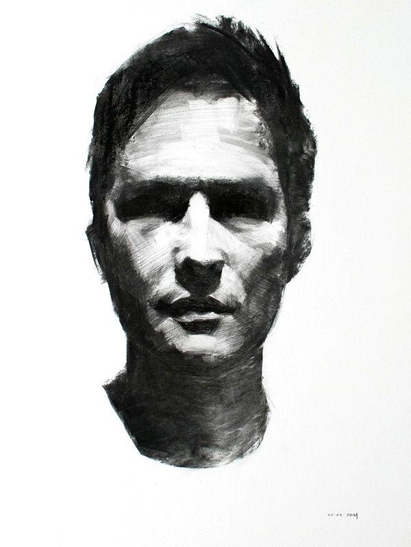 Charcoal Portrait Studies by Mike Creighton, via Behance