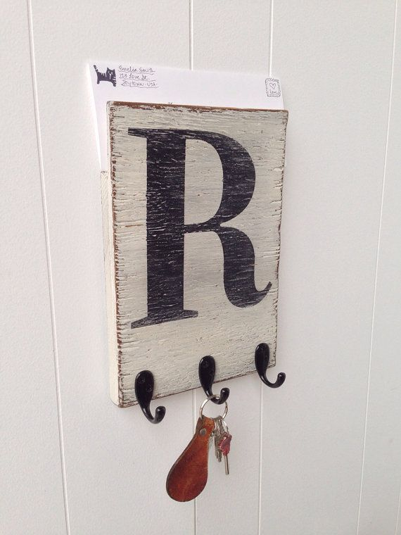 Mail organizer holder key hook wood wall letter initial vintage white black letter bath - Wooden letter and key holder ...