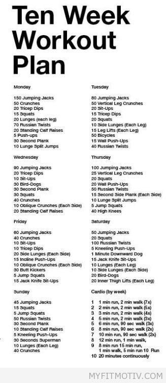 10 Week Workout Plan, using Zumba as my cardio ins | My Fit Motiv